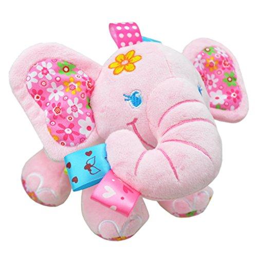 Happy cherry - Juguetes Colgantes Peluches de Animales para Arrastrar bebés niños niñas para cuna cochecito - elefante - rosa
