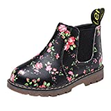 Anglewolf Children Fashion Boys Girls Martin Sneaker Boots Autumn Winter Warm Thick Baby Kids Unisex Casual Floral Printing Zipper Up Shoes Leather Snow Shoes(Black,UK:5)