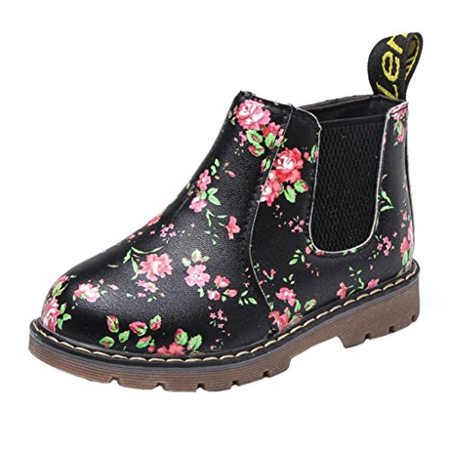 Coupon Matrix - Anglewolf Children Fashion Boys Girls Martin Sneaker Boots Autumn Winter Warm Thick Baby Kids Unisex Casual Floral Printing Zipper Up Shoes Leather Snow Shoes(Black,UK:5)