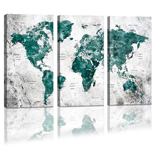 MAECTPO World Map Wandaufkleber mit Wasserfarbe, abstrakte Weltkarte, Leinwandbild, groß, gerahmt, für Schlafzimmer, Moderne Wanddekoration für Wohnzimmer, 3-teilig, Grün (Plastiktüten Zum Verkauf)