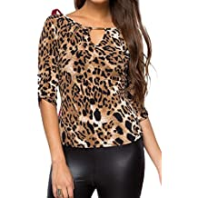 Zonsaoja La Mujer Leopardo Blusa Camisa Slim Casual Tops Camisetas Basicas