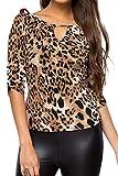 Damen Leopardenmuster Slim Casual Bluse Die Tees Hemd Black L