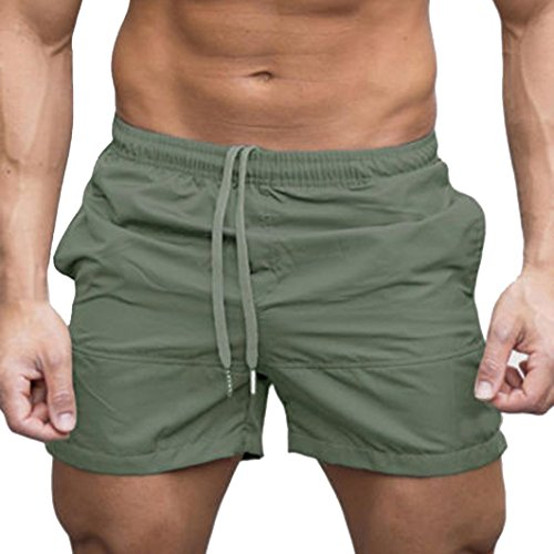 Uomo pantaloncini,yumm sport e fitness pantaloncini estivi jogging casual costumi/uomo da boxer tie anteriori pantaloni regolabile costumi da bagno traspirante calzoncini da surfe (verde, m)