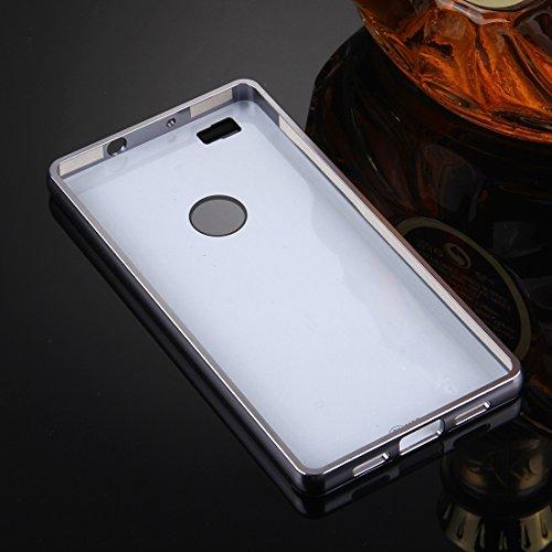 Wkae Case Cover Huawei P8 Lite Galvanik Spiegel Push-PC-Schutzhülle zurück Shell Cover + Metallstoßfeld-Ziehen ( Color : Rose Gold ) Black