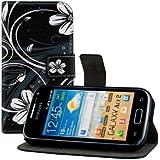 kwmobile Étui en cuir synthétique chic pour Samsung Galaxy Ace 2 avec fonction support pratique. Design fleurs swirl en blanc noir