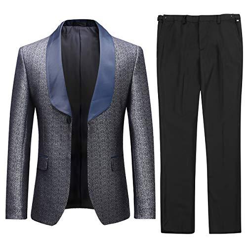 Herren Anzüge 2 Stück formelle Slim Fit Hochzeit Business Anzüge Smoking Jacke & Hose Gr. XX-Large, grau