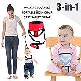 Umiin 3-in-1 Tragbaren/Reisen Hochstuhl + Kleinkind Sicherheit Walking Gurtzeug + Warenkorb Sicherheitsgurt, leicht und waschbar, Rot
