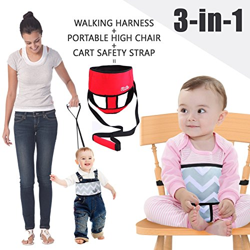 Umiin 3-in-1 Tragbaren/ Reisen Hochstuhl + Kleinkind Sicherheit Walking Gurtzeug + Warenkorb Sicherheitsgurt, leicht und waschbar, - Im Freien Rot-gewebe