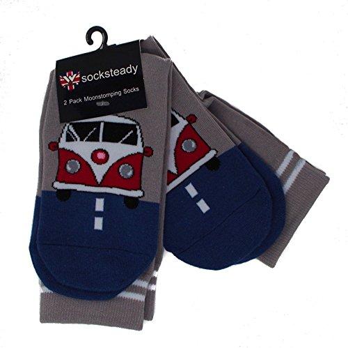 Pack of 2 Pairs Mens Blue Socks with VW Camper Van