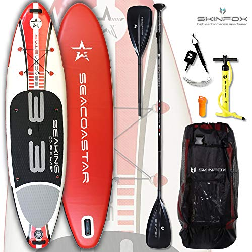 SEACOASTAR SEAKING aufblasbares Double-Layer Inflatable SUP Paddelboard Stand Up 2 lagig sehr kippstabil (325x80x15/Tragkraft 165 kg) Carbon-Set rot (Board,Bag,Pumpe,Carbon SUP-/Kayak Paddle+Leash)
