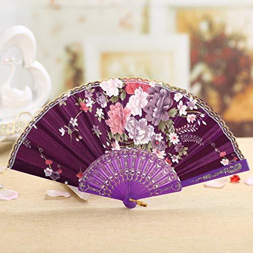 PliageÉté Mariage Fleur Violet De Vintage Bambou Zyhmxm Pliant Main En La Dentelle Soie Style Fan Fête À Tenue Chinois Danse qAR4L3j5