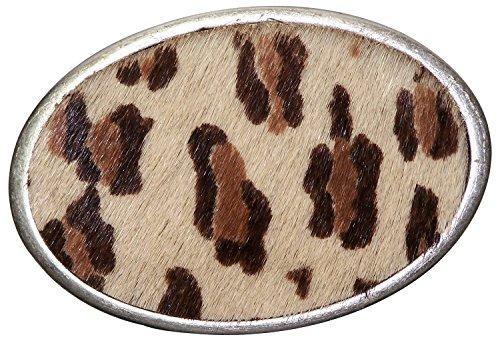 FRONHOFER, Koppelschnalle, Echtfelleinlage, Leopardenmuster, für 4cm Damengürtel, Safaristil, Farbe:Mehrfarbig