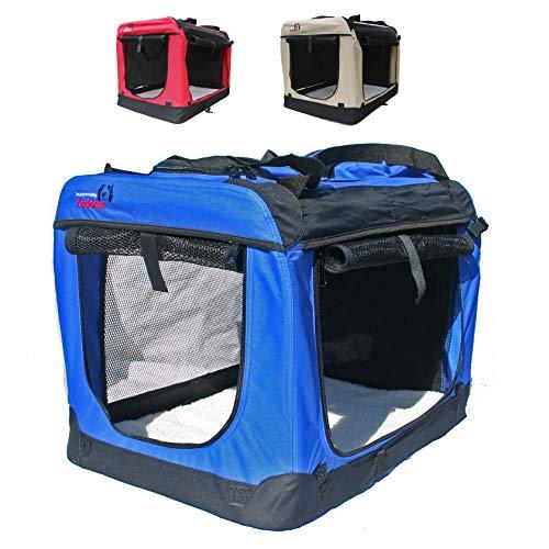 Hundetransportbox faltbar Transportbox für Hunde Hundebox Auto - Dogi Kennel - 6 Größen, 3 Farben (S (50 x 35 x 35 cm), Blau)