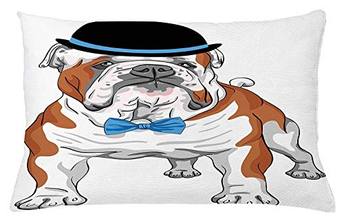 English Bulldog Throw Pillow Cushion Cover, Pure Breed Hipster Dog with Vintage Hat and Bow Tie Sketch Animal, Decorative Square Accent Pillow Case, 18 X 18 inches, Brown Black Blue Blue Silk Bow Tie