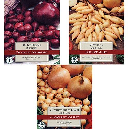 150 Steckzwiebel Sortiment Gemüse Zwiebeln zum Anbauen: Stuttgarter Riesen, Red Baron & Sturon