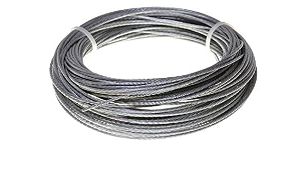 10 Meter Edelstahldrahtseil 7x7-1mm//1,5mm PVC-transparent ummantelt V4A Inox rostfrei Drahtseil Stahlseil Gel/änderseil