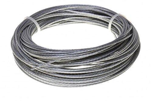 Stahlseil / Drahtseil in Edelstahl oder Verzinkt, 1,2,3,4,5,6,10,11 mm (2 mm, Stahl) 4,40 €/m