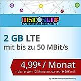 discoSURF Internet-Flat 2 GB LTE [SIM, Micro-SIM und Nano-SIM] 24 Monate Vertragslaufzeit (2 GB LTE mit max. 50 MBit/s, 4,99 Euro/Monat in den ersten 12 Monaten, danach 9,99 Euro / Monat ) O2-Netz preiswert
