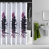 Design Duschvorhang mit Kunststoff Ringen - 100% Polyester Stoff Textil mit Motiven und Mustern, geeignet für Badewanne & Dusche (180 x 200 cm, Steine 2)