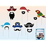 Pirate Party Photo Accessories - 12 Colorful Props On A Stick - Birthday Paty Photo Booth Props