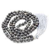 gemstone collana di perline mala, mala braccialetto, mala rosario collana, annodati collana / bracciale (Black Labradorite)