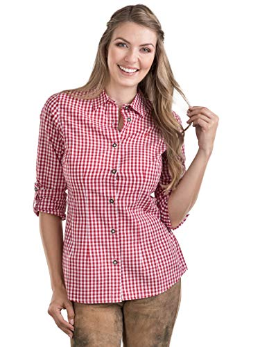 Schöneberger Trachten Couture Trachtenbluse Bergstern - Elegantes, Kariertes Damen Trachtenhemd - tailliert mit Krempelärmel div. Farben (36, Rot/Weiss)