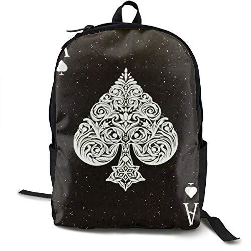 Fashion Daypack Mehrzweck-Rucksack mit großer Kapazität, Diebstahlschutz, für Klettern, Arbeit, Fahrrad, Aktiv Vulkan, Berg, Reisen, Wanderrucksack Ace of Spades Poker Card Style Black Einheitsgröße -