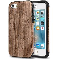 TENDLIN Coque iPhone Se Bois et Souple TPU Silicone Hybride Bonne Protection Etui pour iPhone Se 5S 5 (Noir Bois de Rose)