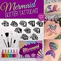 Mermaid Glitter Tattoo Kit - 40 Stencils, 6 glitters