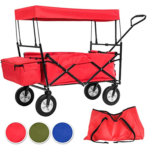 Preisvergleich Produktbild TecTake Faltbarer Bollerwagen mit Dach und extra Tragetasche - diverse Farben - (Rot | Nr. 401082)