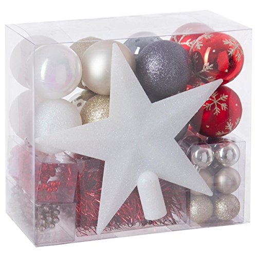 Lote de navidad - Kit 44 piezas para decorar árbol: Guirnaldas, Bolas y Estrella cima - Tema color: Blanco, Oro, Rojo y Gris