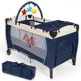 Lits pour bébés / Enfant Lit de Voyage Parapluie Pliant Réglable avec Accessoires et Sac de Transport - Diverses Couleurs au Choix - ( Bleu )