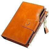 Geldbörse Damen Echt Leder mit RFID Schutz, Kurzer Klein Clutch Brieftasche, 10 RFID Schutz Kartenfächer 2 ID Windows 6 Geld Fächer, Portemonnaie Deman Geschenkbox für Geschenke (9.8*2.8*12.5cm)