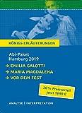 Abitur Deutsch Hamburg 2019 & 2020 - K?nigs Erl?uterungen-Paket.: Ein Bundle mit allen Lekt?rehilfen zur Abiturpr?fung: Emilia Galotti, Maria Magdalena, Vor dem Fest