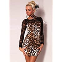 Sexy Ladies Leopard Print Mini Dress with Lace sleeves UK 8-12