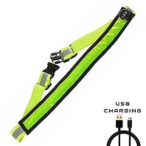 AGPTEK LED Reflektierender Gürtel USB aufladbare LED – Hohe Sichtbarkeit für Laufen Wandern Radfahren – Passend für Frauen, Männer und Kinder – Verstellbare und Leicht – sicherer als reflektierende
