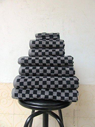 Luxus ägyptische Baumwolle 650GSM 6Stück schwarz und grau kariert Handtuch Bale (Schwarze Handtücher Aus ägyptischer Baumwolle)