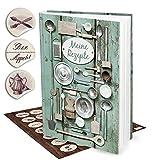 Geschenk-SET XXL Rezeptbuch Kochbuch zum Selberschreiben GRÜN SILBER alt DIN A4 + 35 nostalgische Küchen-Aufkleber HARDCOVER Meine Rezepte sammeln Liebslingsrezepte Buch zum Einschreiben