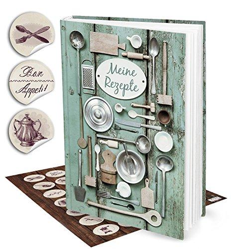 Set regalo: libro di ricette per scrivere... verde argento Vintage Cucina nutensilien + 35motivi ornamentali della cucina sticker, DIN A4, Hard Cover con 164leeren nummerierten pagine + Indice