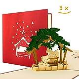 Set di 3 biglietti di Natale con busta, I biglietti di auguri di Natale con presepe 3D pop-up di alta qualità, originali, fatti a mano, cristiani, set7