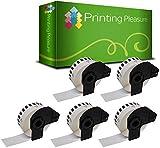 Printing Pleasure 5x Endlos-Etiketten kompatibel für Brother DK-22210 29mm x 30.48m P-Touch QL-500, QL-500BS, QL-500BW, QL-550, QL-560, QL-560VP, QL-560YX, QL-570, QL-580, QL-580N, QL-650TD, QL-700, QL-710W, QL-720NW, QL-1050, QL-1050N, QL-1060N, Thermopapier mit Kunststoffhalter