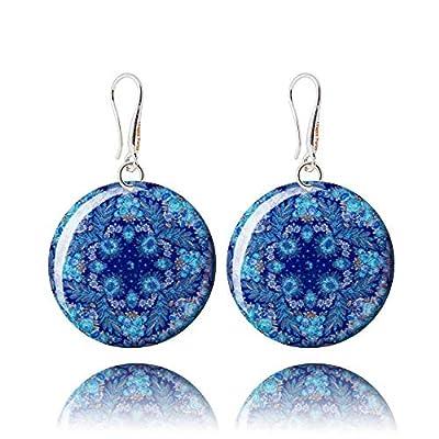 Boucles d'Oreilles Bleu Saphir Fleur À La Mode Bijoux Rond Aquamarine pour Cadeau