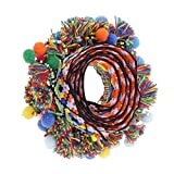Uteruik Pompom Pom Pom Perlen Fransen Quasten Geflecht Jacquard Band Nähbordüre für Dekoration - Mehrfarbig, 60 mm, 1 Yard