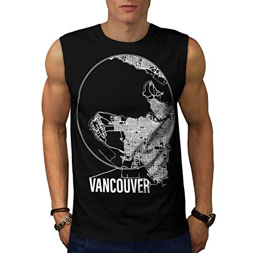 Kanada Groß Vancouver Stadt Karte Herren M Ärmellos T-shirt | Wellcoda