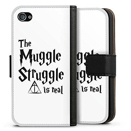 Apple iPhone 8 Hülle Case Handyhülle Harry Potter Muggle Struggle Statement Sideflip Tasche schwarz