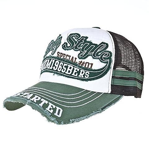 WITHMOONS Casquette de Baseball Vintage Baseball Cap Meshed Distressed Trucker Hat KR1251 (Green)