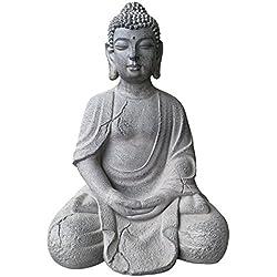 Figura de Buda Grande 51X 37X 34Cm De resistente a la intemperie y imitación piedra original Estatua decorativa para jardín de Buda sentado fibra de piedra