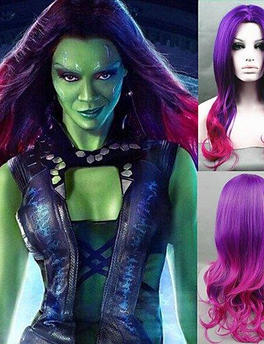 Die Weise XZL Perücken Perücke neue Wächter der Galaxie Gamora Cosplay Perücke lange wellig Perücken synthetische Verlauf (Hausgemachte Kostüm Et)