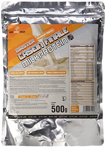 BodyWorldGroup Master Casein Finale Milkprotein, Elite Line, Vanille-Delicious-Cream, 500 g, 1er Pack (1 x 500 g) (Erdbeer-saft-konzentrat)
