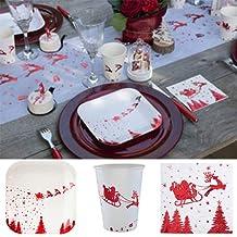 10x Pappteller Runf Pappbecher Einweg Weihnachten Party Schneemann Papierteller